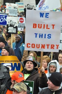 March 10 rally at the Indianapolis Statehouse. Photo: United Steelworkers.