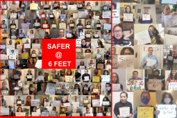 """A collage of individual photos of teachers holding signs that say """"Safer at six feet."""""""