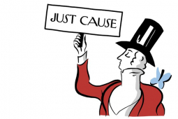 """Cartoon image of New Yorker's mascot (silhouetted man in formal coat, waistcoat, and top hat) but the bird is on his shoulder and he's holding a picket sign that says """"JUST CAUSE"""""""