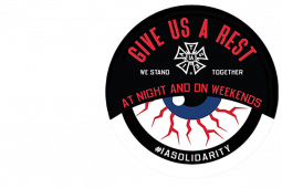 """IATSE bloodshot eye """"Give Us A Rest"""" text, campaign logo for current bargaining capaign"""
