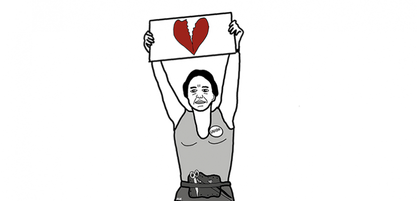 "A cartoon Norma Rae holds up a sign with a broken heart, instead of the ""Union"" sign she holds up in the movie."