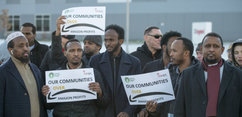 Around 200 Amazon workers, mostly of East African descent, protested outside their workplace in Minnesota.