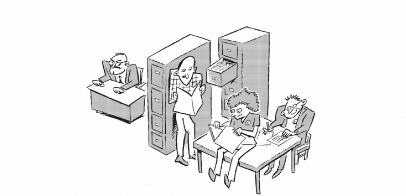 Black and white drawing shows boss looking annoyed while three workers in his office open cabinets and read through his files