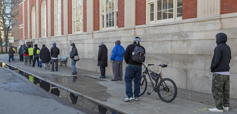 A line of people outside a Detroit homeless shelter