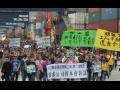 Hong Kong Dockworkers on strike.