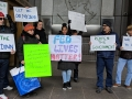 Federal government employees and their supporters rally on January 10, 2019, in front of a federal building in New York to protest the government shutdown.