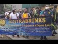 Sintrabrinks workers picketing behind a blue banner in Cali, Colombia in December 2020.
