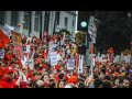 Crowd of UTLA strikers in red in January 2019 strike