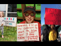 "Three pictures: First one shows a happy child, hand in air, with Preschool for All yard sign; second shows a woman holding a handwritten sign: ""Spending $787 on my classroom to start the school year is NOT okay! #InvestInEd #RedForEd""; third shows a young woman with a handwritten sign: ""FAIR TAXES IS INVESTING IN US"""