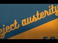 """reject austerity"" in cursive"
