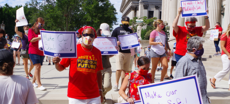 Massachusetts teachers rallied in front of Springfield City Hall in early August to demand the school year start with remote-only learning. Photo: Dave Madeloni