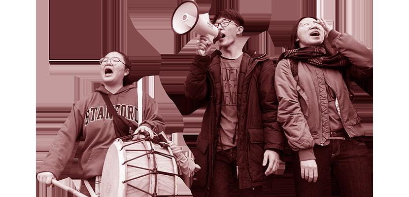 Three picketers at the UTLA strike in January 2019.