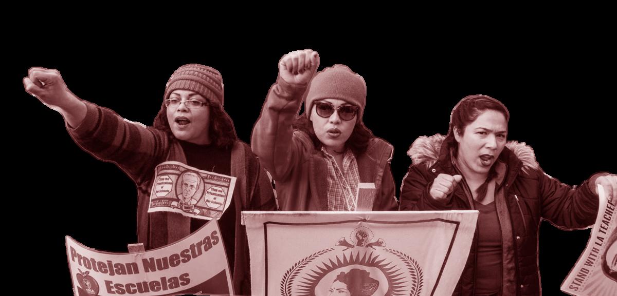 Three UTLA strikers demonstrating, January 2019.