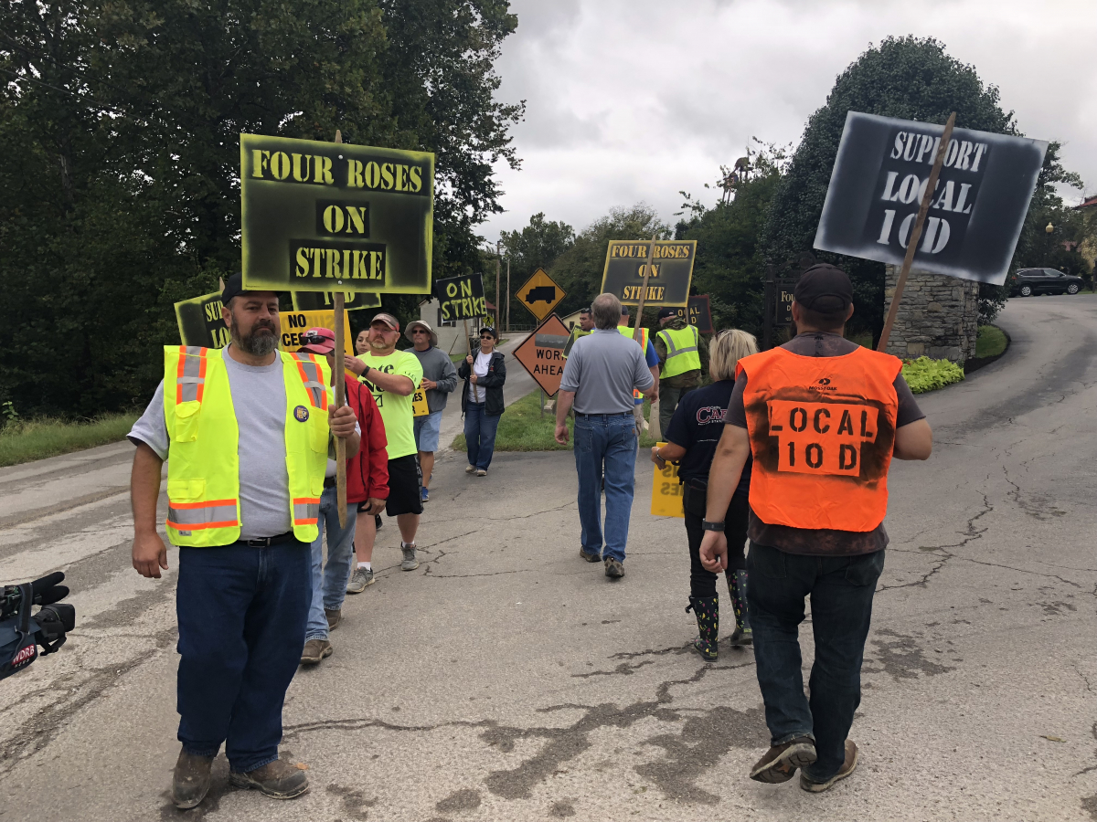 Four roses workers picketed for a better contract.