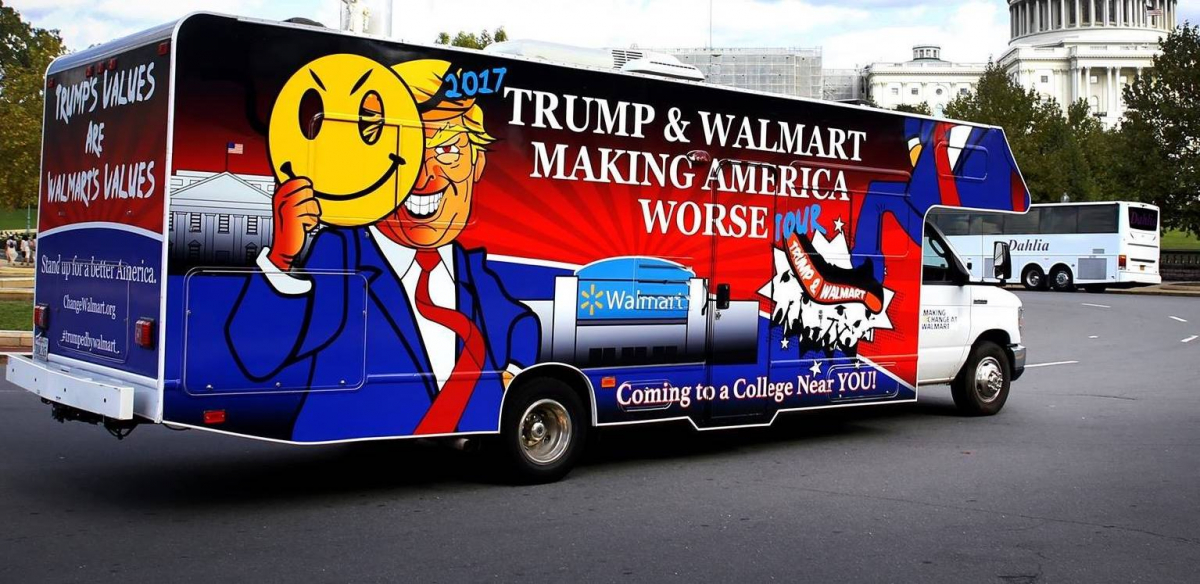 A truck with Donald Trump's face hiding behind the Walmart smiley-face logo, with the slogan: Trump and Walmart: Making America Worse