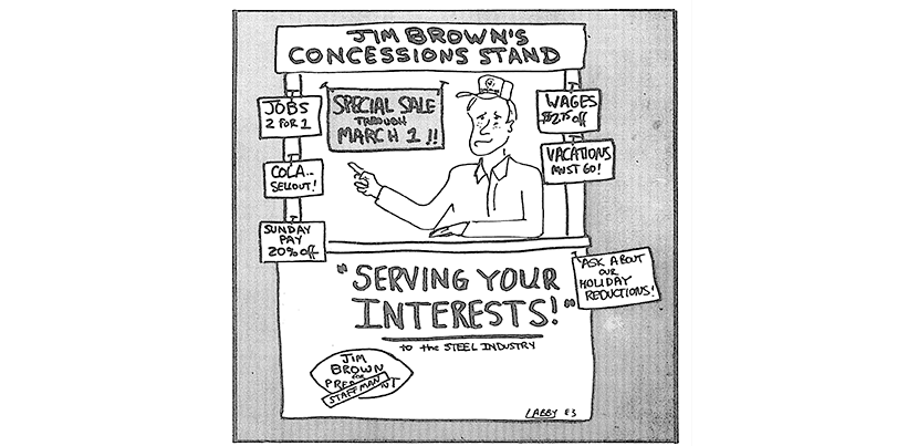 cartoon depicting sales stand of concessions