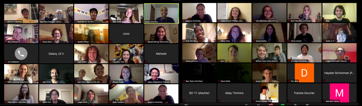 Compilation of two Zoom screenshots shows 50 people on a call. Most are smiling faces, some show text only