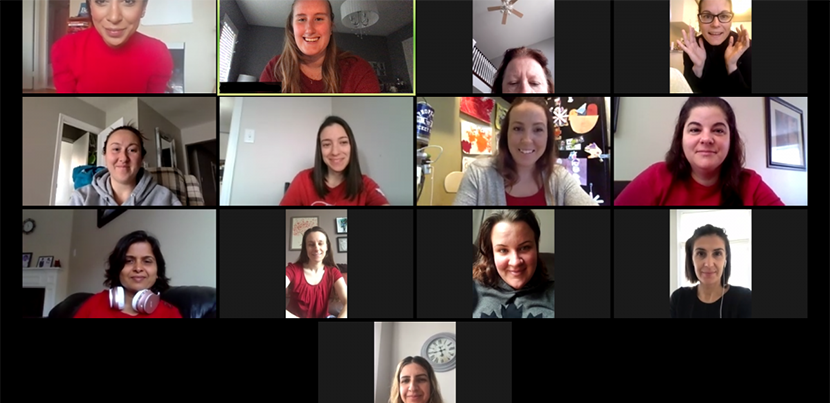 Zoom screen with 13 participants.