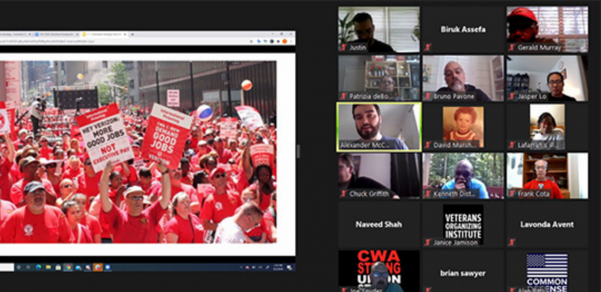 Zoom display shows a photo from Verizon strike (sea of red shirts) on the left; on the right, thumbnails of 18 participants in the call