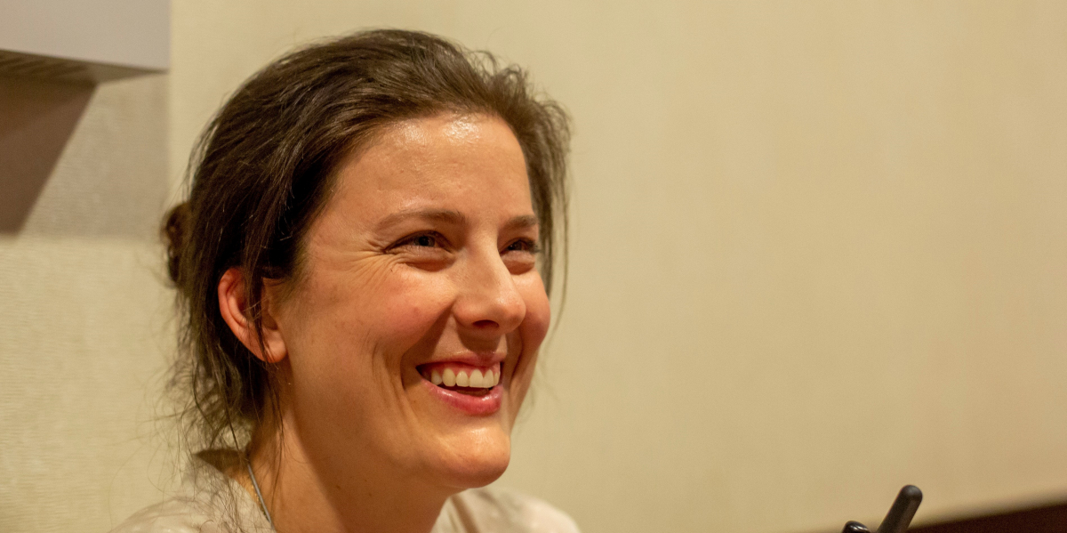 Samantha smiling during the 2014 Labor Notes Conference