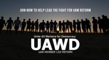 """Silhouette of a line of people holding hands with rising sun behind them. text: """"Join now to help lead the fight for UAW reform. UAWD Unite All Members for Democracy: UAW Member-Led Reform"""""""